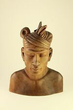 Klungkung Man Head Bust Bali Carved Hard Wood Sculpture Vtg Carving Figurine