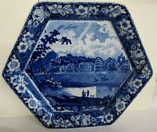 """HISTORICAL BLUE HEXAGONAL CHARGER """"WALSINGHAM PRIORY NORFOLK"""" RARE ANTIQUE"""