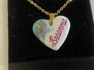 Disney Jewelry BREANNA Tinker Bell Heart Necklace Porcelain Artist Julie Zsupnik