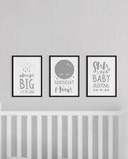 Set of 3 Dream Big Goodnight Moon Shh Baby Nursery Wall Art Prints Grey & White