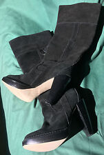 M&S Autograph Ladies Black Suede Leather Knee High Boots , Size UK 4.5; US 6.5