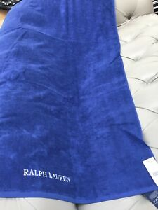 Ralph Lauren Blue Harbourview Large 100% Cotton Embroidered Logo Beach Towel New