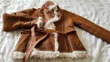 Italian curly lamb shearling jacket tie waist belted wrap sheepskin coat tan S