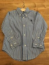 Ralph Lauren Boys Blue And White Striped Shirt Age 3 Good Condition