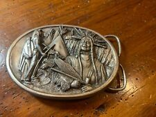 Vintage 1984 Bergamont Belt Buckle Embossed Relief Native American S-149 USA