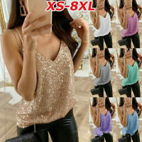 Women's Ladies Sequined Bling Shiny Tank Tops Sleeveless T Shirts Blouse Vest