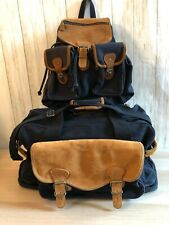 Vtg Eddie Bauer Duffle Bag and Backpack Canvas Leather Navy Blue Overnight Bag