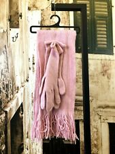 Brand new pink Acrylic scarf and gloves set gloves size S R391