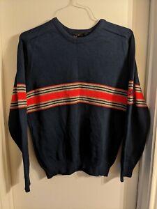 Vintage Demetre Ski Sweater 100% Virgin Wool Mens Sz L Ribbon Logo Navy Blue