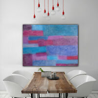 Original Abstract Painting 40x30 Large Canvas Art Blue/Pink/Silver Abstract