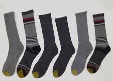 $75 Gold Toe Mens 6-Pair Pack Gray Ribbed Cotton Crew Dress Socks Shoe 6-12