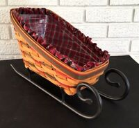 Longaberger Sleigh Basket 1997 Decor Liner Protector Iron Vintage Holiday Gift