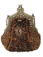 Victorian Style Evening Bag Bronze Brown Fully Beaded Crystal Purse