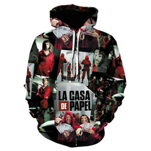 3D Unisex The House of Paper La Casa De Papel Cosplay Hoodie Sweater Cotton