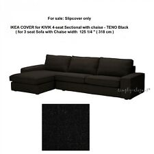 IKEA COVER for IKEA KIVIK 4 seat Sectional Sofa with Chaise Longue TENO BLACK