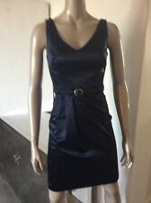 John Galliano 40 US 6 Midnight Blue Satin Sexy Belted Cocktail Dress Italy