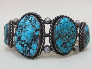 Vintage Artist Signed Southwestern Sterling Silver Turquoise Cuff Bracelet