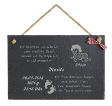 Schild m. Spruch und Wunschnamen witzig Schiefertafel zur Geburt Taufe Baby Deko