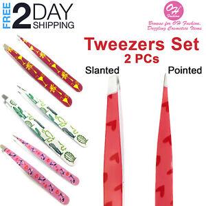 2 PCs Professional Precision Tweezers Set Stainless Steel Eyebrow Lashes Razor
