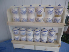 vintage blue and white china spice canister set japan 1960's 12 spice jars rack