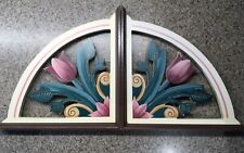 "Folk art 8"" wooden shelf brackets rose, turquoise, cream"