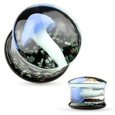 "PAIR-Pyrex Glass Floating Mushroom Double Flare Ear Plugs 12mm/1/2"" Gauge Body"