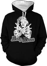 Marilyn Tattoos Gangster Gangsta Hard Swag 2-tone Hoodie Pullover