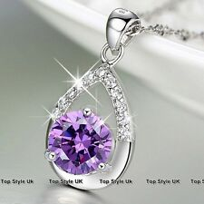 S925 Sterling Silver Purple Tear Crystal Diamond Necklace Pendant Gift for her