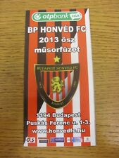 2013 Budapest Honved: Official Guide/Fixtures Booklet. Any faults with this item