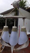 Lustre noix de coco blanc et papier riz a 3 lumières cm 55x39 lampe luca