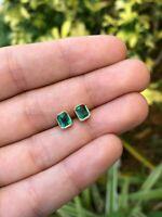 2.50 Ct Emerald Cut Green Emerald Bezel Set Stud Earrings 14k Yellow Gold Over