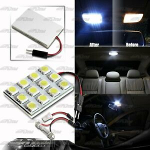 WHITE SMD 12 LED Interior Dome Map Light Panel T10 & Festoon Adapter For NISSAN