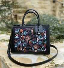 NWT Coach Zoe Carryall With Leather Sequins QB/BLACK(F89041)