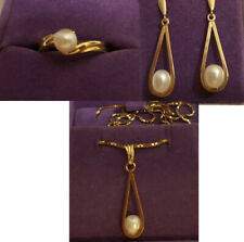 Pearl Jewellery Set - 14K gold ring, necklace and earrings