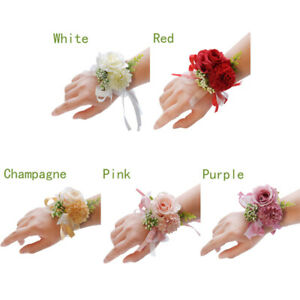 Wedding Bridesmaid Groom Wrist Flower Corsage Boutonniere Gifts Party Flowers
