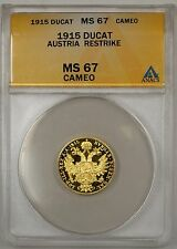 1915 Austria Gold Ducat Restrike ANACS MS-67 Cameo Full Proof Surface-(B)