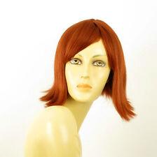 perruque femme 100% cheveux naturel mi-longue cuivré intense ref EMY 130