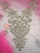 Xr58 Crystal Clear Beaded Bodice Rhinestone Applique 9""