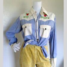 Vintage 1970s Embroidered Western Shirt Western Wear Cowgirl Rockabilly