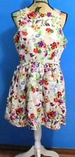 Hot Options Tea Dress, Cream Floral, Side Zip, Lined, Size 14, Like New