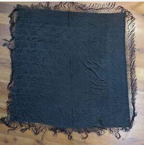 """VINTAGE EDWARDIAN BLACK ON BLACK SILK FLORAL SHAWL 60"""" X 68"""""""