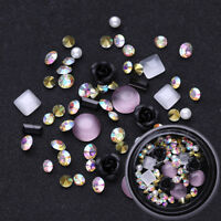 Metal Rose Opals Crystal Gemstone AB Color Rhinestones 3D Nail Art Decoration