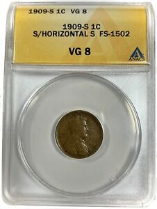 1909-S United States Lincoln Wheat Cent Penny - ANACS VG8