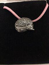 Hedgehog R156 English Pewter Emblem on a Pink Cord Necklace Handmade