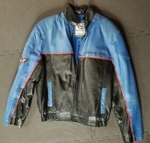 Chevy Corvette C5 Lambskin Leather Jacket Chevrolet Racing Men's Large Blue GM