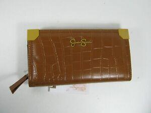 Jessica Simpson Logo Ladies Wallet Cognac Croco Zip Around & Bifold Clutch