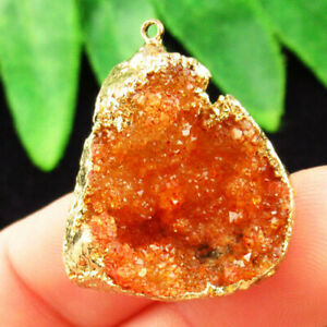 Wrapped Yellow Crystal Agate Druzy Quartz Geode Pendant Bead D67692