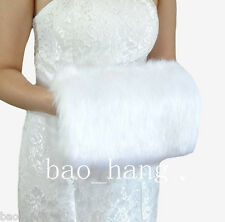 White Winter Faux Fur Hand Muff Warm Gloves For Women Free Size In Stock