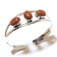 Beautiful Silver Plated Sunstone Cuff Bangel  Handmade Gemstone Jewelry