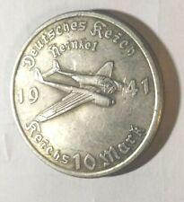 Piece Hitler 1941 10 RM Reichsmark Coin Avion Heinkel Plane ww2 German